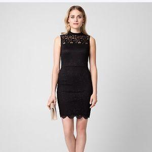 BNWT Le Chateau Black Lace Mock Neck Dress XXS